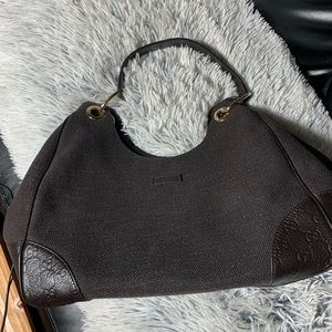 GUCCI DARK brown fabric/leather shoulder